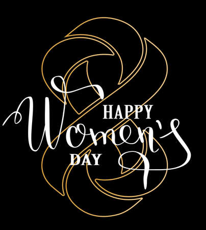 Womans Day concept design. Greeting card with golden geometrically impossible infinity symbol. Lettering greeting card Vector illustration EPS10.