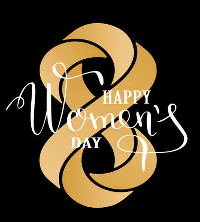 Womens day lettering greeting card. Calligraphic pen inscription on a black background with geometrically impossible infinity sign. Vector illustration Illustration
