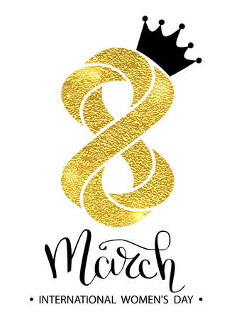 8 March gold glitter for Women Day greeting card and luxury text lettering on a white background. Woman Day concept design. Calligraphic pen inscription. Vector illustration EPS 10. Illustration