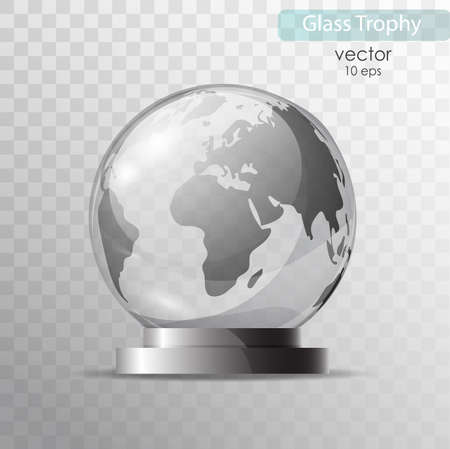 Glass globe on a stand. Souvenir, crystal model of the globe. Realistic vector objects. A glass sphere isolated on transparent background. Illustration