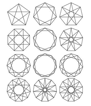 Set of geometric shapes. Sacred Geometry. lines crossing the polygon inscribed in a circle. White lines on a black background. Outline Mandala frames. Crystal form. Vector illustrations.