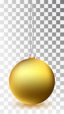 Glass Christmas gold toy on a transparent background. Stocking Christmas decorations. Transparent vektor object for design, mocap. Vector illustration. 10 EPS