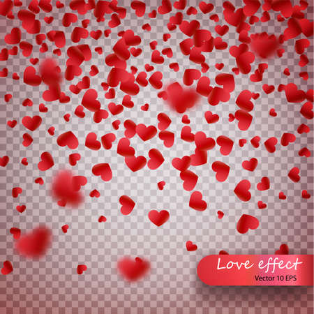 Heart confetti of Valentines petals falling on transparent background. Valentines Day background of red hearts petals falling. Decor element for greeting cards. Transparent vector effect.