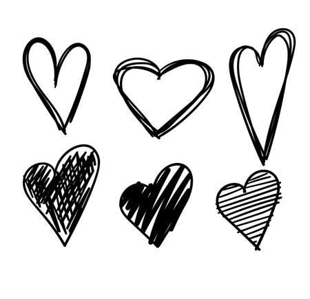 Corazones dibujados a mano conjunto aislado. Elementos de diseño para el día de San Valentín. Colección de doodle sketch corazones dibujados a mano con tinta. Ilustración del vector 10 EPS.