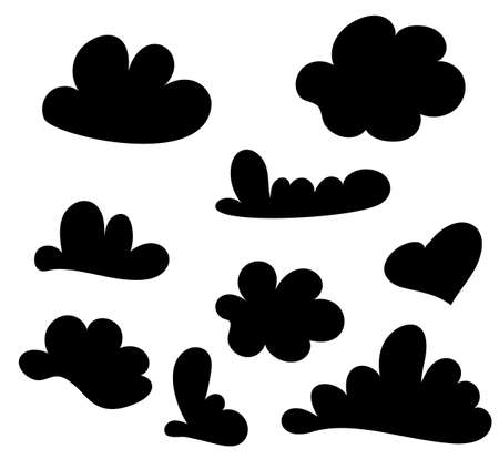Hand drawn cloud set isolated on white. Sketch speech cloud set. Vector Collection of Hand Drawn Doodle Style. Vector illustration for your design. Ilustração