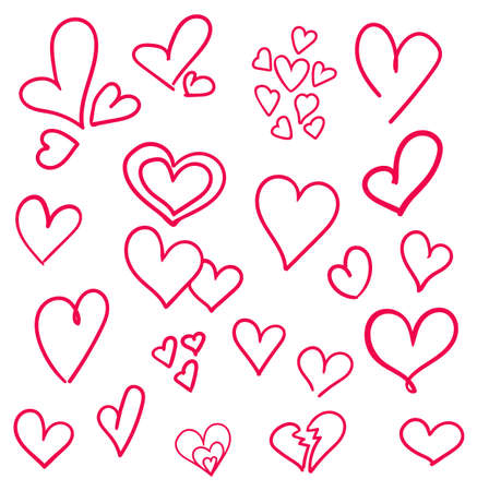 Hand drawn hearts set isolated. Design elements for Valentines day. Collection of doodle sketch hearts hand drawn with ink.