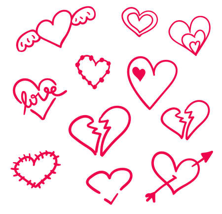 Hand drawn hearts set isolated. Design elements for Valentines day. Collection of doodle sketch hearts hand drawn with ink. Vector illustration 10 EPS. Illustration