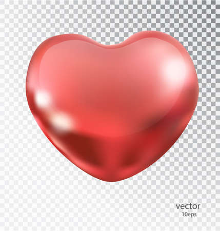 Red heart made of metal with a transparent background. Lacquered shiny element romantic mood design.
