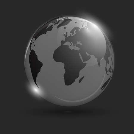 黒い背景に輝く地球。分離されたオブジェクト。スペースの背景。スコープ。世界地図で忍び寄る地球。  イラスト・ベクター素材