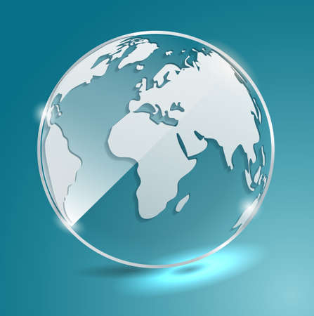 Glass ball with world map.  Earth. Geographic map. Globe. Vector banner