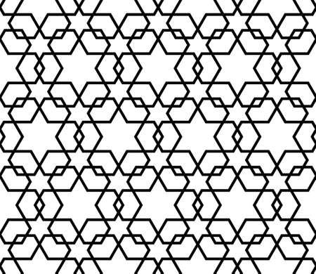 Islamisches Muster. Geometrischer Schwarzweiss-Gitterhintergrund des nahtlosen Vektors in der arabischen Art. Vektorstilvolle Beschaffenheit in der Schwarzweiss-Farbe. Ethnische Linie islamisches Muster.