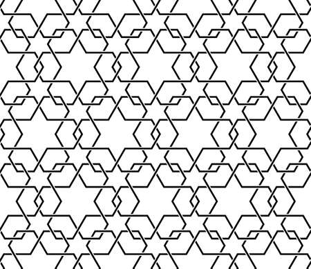 Islamic pattern. Seamless vector geometric black and white lattice background in arabic style. Vector stylish texture in black and white color. Ethnic line islamic pattern.