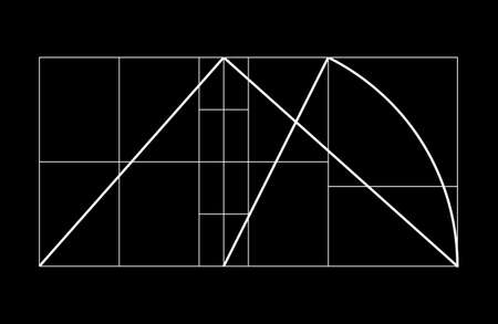 Modulor  Cover template. armonious measure to the human scale universally applicable to architecture and mechanics. Scalable vector illustration.
