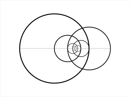 Minimalistic style design. Golden ratio. Geometric shapes. Circles in golden proportion. Futuristic design. Vector icon illustration. Abstract vector background.
