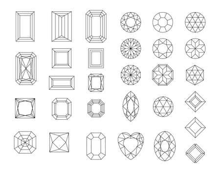 Vector set of diamond design elements - cutting samples Ilustração