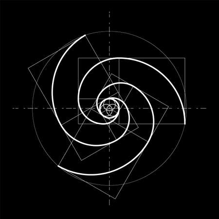 Minimalistic style design. Golden ratio. Geometric shapes. Circles in golden proportion. Futuristic design. Logo. Vector icon. Abstract vector background