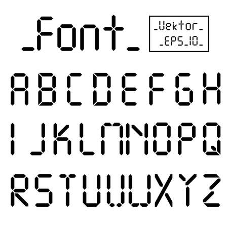 Digital font. Alarm clock letters. Numbers and letters set for a digital watch and other electronic devices. Vector alphabet isolated.