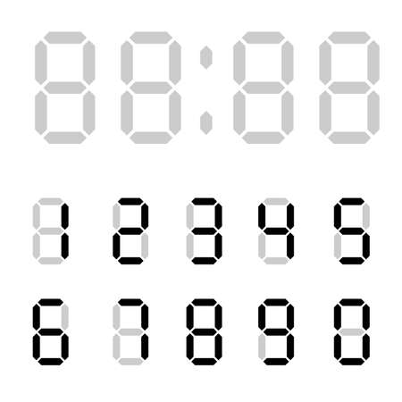 Digital clock. Calculator digital numbers. Alarm clock letters. Numbers set for a digital watch and other electronic devices. Vector 10 EPS.