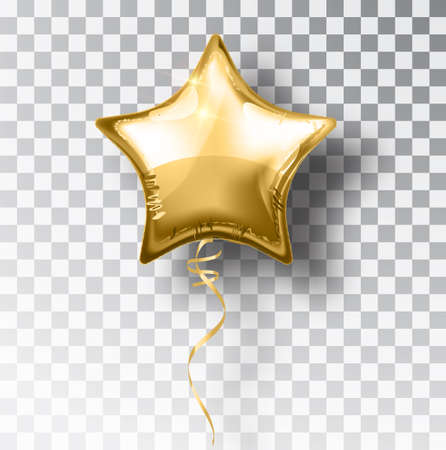 Star gold balloon on transparent background. Party helium balloons event design decoration. Balloons isolated air. Mockup for balloon print. Stocking Christmas decorations. Vector isolated object. Çizim