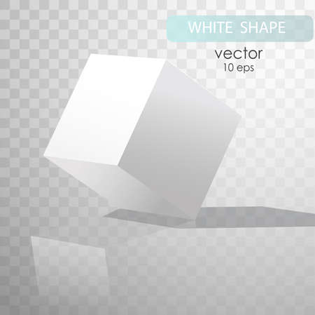 White cube with shadows, isolated on transparent background. Cube turned onto their side. Gypsum geometrical figure. Template white. vector illustration. Vector Art
