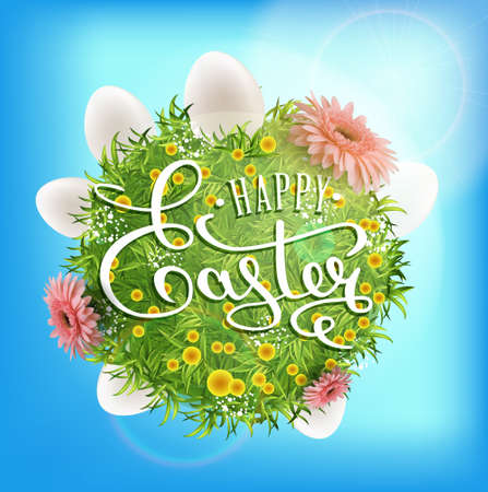 Happy easter calligraphic inscription with round garden and eggs illustration.