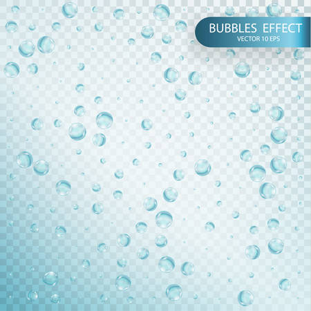 Water bubbles isolated on a transparent checkered background. Illustration