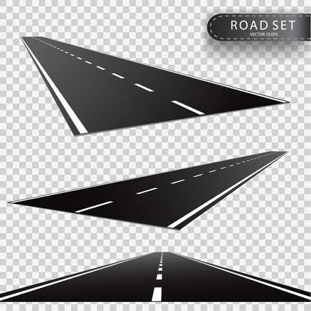 Road, Perspectives of a retreating roadway, Realistic vector object.