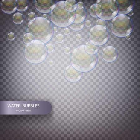 Bulles d'eau isolées sur un fond quadrillé transparent. Bulles d'oxygène étincelantes effervescentes sous l'eau dans l'eau. Bulles de savon irisées avec réflexe et réflexion, effet vectoriel réaliste Banque d'images - 96846752