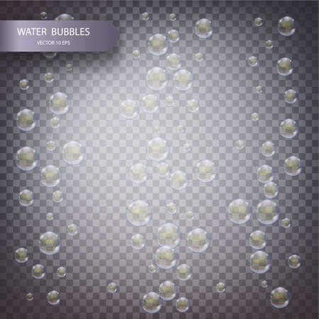 Water bubbles isolated on a transparent checkered background. Underwater effervescent sparkling oxygen bubbles in water. Iridescent soap bubbles with reflex and reflection, realistic vector effect
