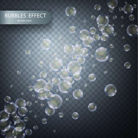 Water bubbles isolated on a transparent checkered background. Vector realistic effect template. Iridescent soap bubbles 矢量图像