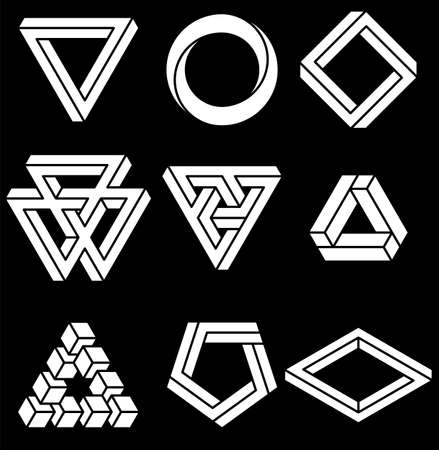Set of impossible shapes. Optical Illusion. Vector Illustration isolated on white. Sacred geometry. White lines on a black background. Vettoriali