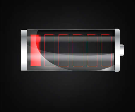 Battery charging status indicator. Glass realistic power battery illustration on black background. Full charge total discharge. Vettoriali