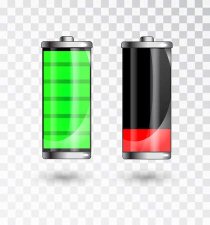 Charged and low battery. Full charge battery. Battery charging status indicator. Glass realistic power green battery illustration on black background. Charge status. Vector  イラスト・ベクター素材