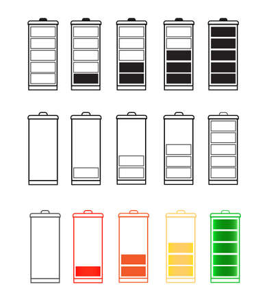 Battery Indicator Icon Set isolated isolated on a transparent background. Battery icon set .Set of battery charge level indicators. Vector icon Illustration