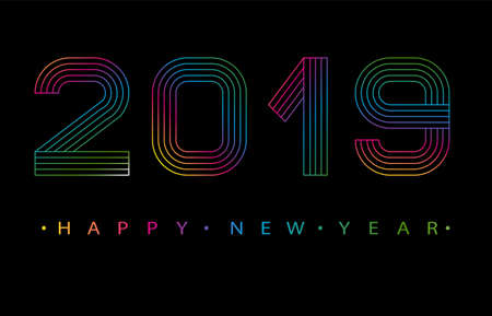 2019 Happy new year. Numbers minimalist style. Vector linear numbers.