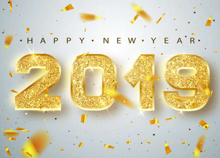 2019 Happy new year. Gold Numbers Design of greeting card of Falling Shiny Confetti.