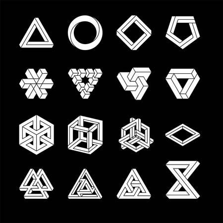 Set of impossible shapes. Optical Illusion Vector Illustration isolated on white. Sacred geometry. White shapes on a black background.