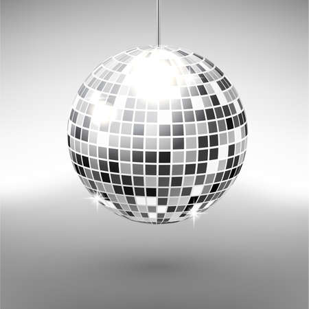 Disco ball isolated on grayscale background. Night Club party light element. Bright mirror silver ball design for disco dance club. Vector illustration. Illustration