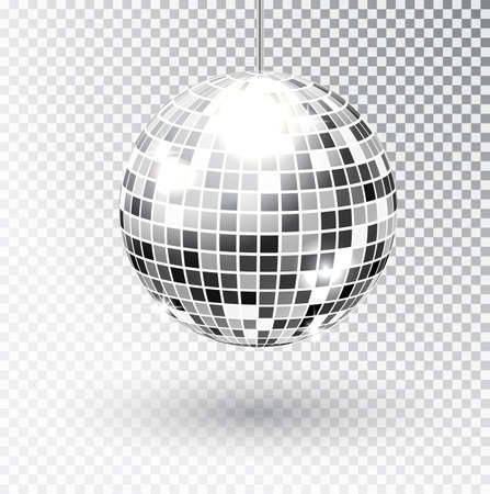 Mirror glitter disco ball vector illustration. Night Club party light element. Bright mirror silver ball design for disco dance club.