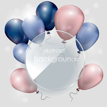 Balloons with a glass plate. Celebratory background. greeting card. Background with balloons. Vector Banner.