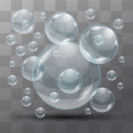 Transparent water bubbles on a black background. Isolated objects. Vector the background.