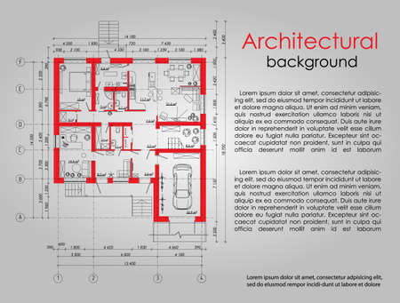 Background for an architectural element. Banner. Advertising element. The red lines in the drawing. Space for labels and titles. Architectural drawing. Disposition of the apartment house. Ilustrace