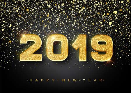 2019 Felice anno nuovo. Progettazione di numeri dell'oro della cartolina d'auguri. Modello oro brillante. Felice anno nuovo Banner con numeri 2019 su sfondo luminoso. Illustrazione vettoriale Vettoriali