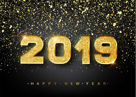 2019 Happy new year. Gold Numbers Design of greeting card. Gold Shining Pattern. Happy New Year Banner with 2019 Numbers on Bright Background. Vector illustration 스톡 콘텐츠 - 102080943