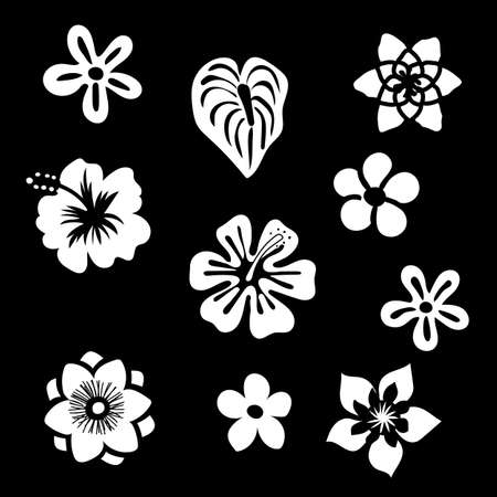 Tropical flowers silhouette elements set isolated on black background. Vector illustration in black and white colors EPS10.