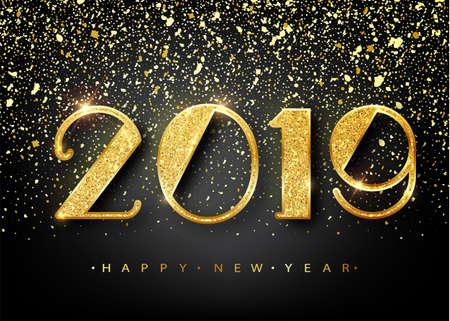 2019 felice anno nuovo. Numeri d'oro Design del biglietto di auguri. Modello splendente d'oro. Banner di felice anno nuovo con numeri 2019 su sfondo luminoso. Illustrazione vettoriale Vettoriali