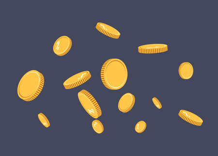Gold coins explosion flat vector. Gold coins Pattern with the effect floating in the air in a cartoon style for designers . Successful financial planning, profitable small businesses. Digital currency