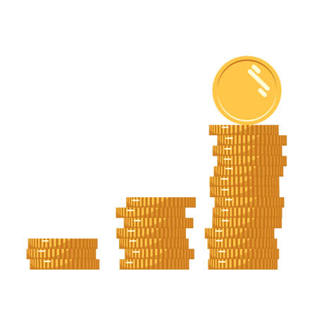 Coins icon. Stack of golden coin like income graph. Stack of coins with coin in front of it. Digital currency. Flat style gold coins isolated. Vector illustration