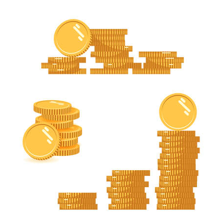 Coins stack set vector illustration, icon flat finance heap, dollar coin pile. Golden money standing on stacked, gold piece isolated on white background - flat style