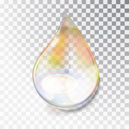 Rainbow dew drop. A drop of oil. Transparent drop of overflow in the sun. Izoltrovannaya drop on a transparent background. Blocs of the sun in the water. Vector illustration Иллюстрация